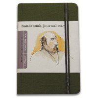 Hand Book Travelogue Journal Portrait Cadmium Green 3.5x5.5
