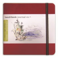 Hand Book Travelogue Journal Square Vermillion Red 5.5x5.5