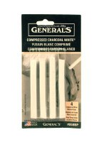 General's Compressed White Charcoal Sticks 4pk