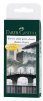 Faber-Castell Pitt Artist Pens Set of 6 Brush Tips: Shades of Grey