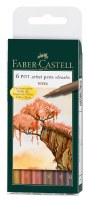 Faber-Castell Pitt Artist Pens Set of 6 Brush Tips: Terra
