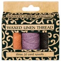 Lineco Waxed Linen Thread - 3 Colors, 20yd Spools