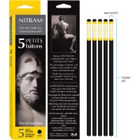 Nitram Soft Round Charcoal Sticks Small - 6mm