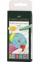 Faber-Castell Pitt Artist Pens Set of 6 Brush Tips:Pastel