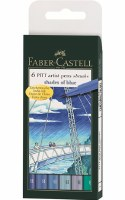 Faber-Castell Pitt Artist Pens Set of 6 Brush Tips:  Shades of Blue