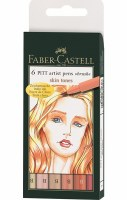 Faber-Castell Pitt Artist Pens Set of 6 Brush Tips:Skin Tones