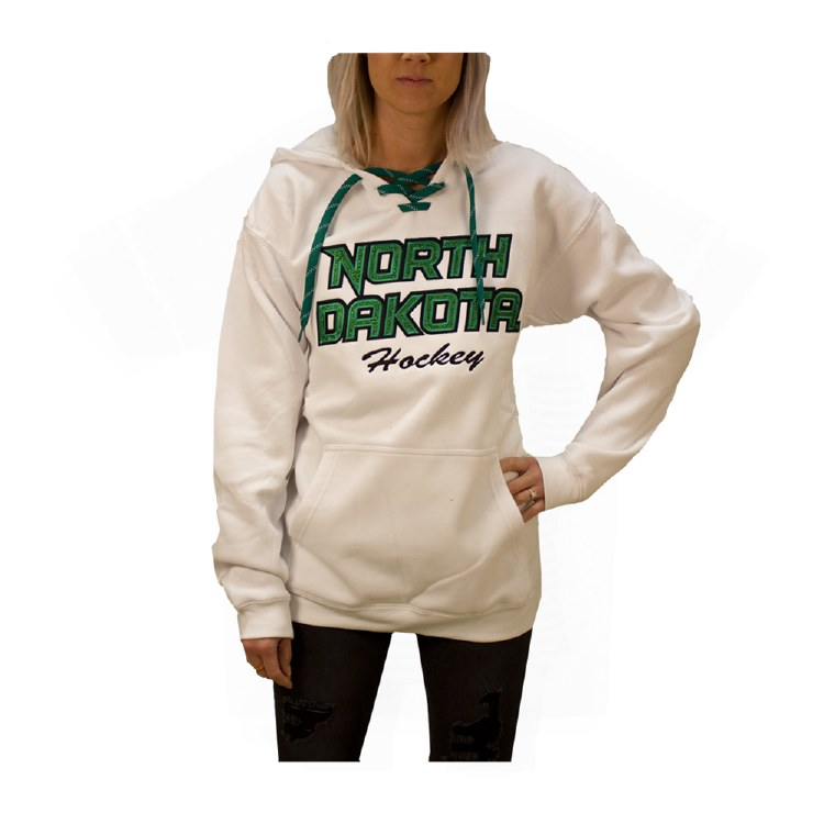 UNIVERSITY OF NORTH DAKOTA HOCKEY GLITTER LACE HOOD