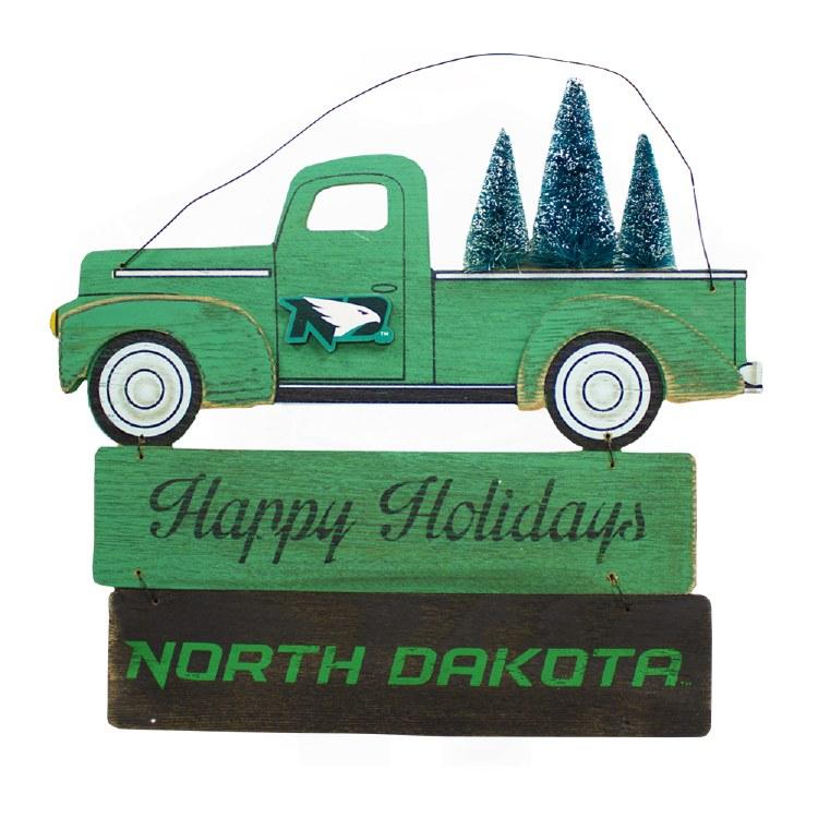 UNIVERSITY OF NORTH DAKOTA HAPPY HOLIDAYS TRUCK/TREE SIGN