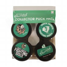 UNIVERSITY OF NORTH DAKOTA FIGHTING SIOUX 4 PACK COLLECTOR PUCK SET