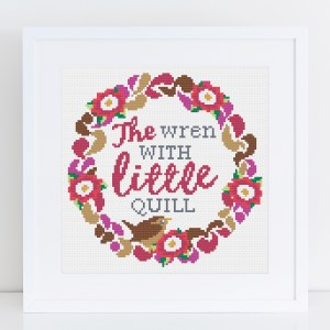 Cross Stitch - 'Wren with Little Quill'