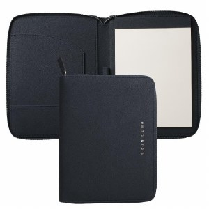 Hugo Boss Saffiano Leather A5 Folder in Navy