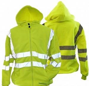 028019 Hi-Vis Hooded Zippered Sweatshirt