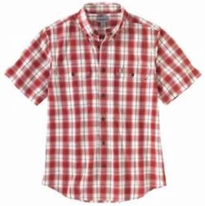 104175 Original Fit Midweight Short-Sleeve Button-Front Plaid Shirt