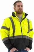 75-1383 Hi-Vis 8 in 1 Fleece Lined Waterproof Bomber Jacket