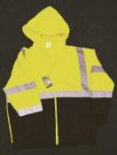 ZIP028019 Class 3 Hi Vis Double Weight Black Bottom Hooded Sweatshirt