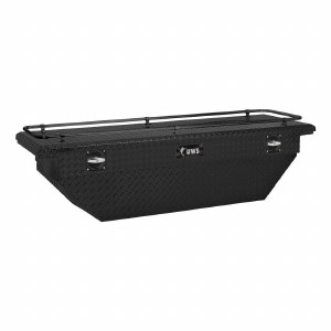 "69"" Deep Angled Secure Lock Crossover Truck Tool Box with Low Profile and Rail - Black"