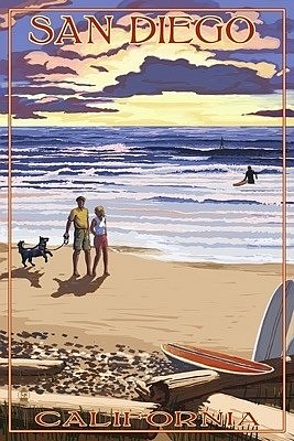 San Diego Beach Walk Postcard