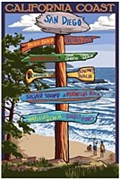 Ca Coast Destination Sign Post