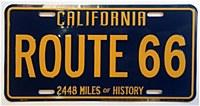 Rt 66 Ca Blue & Yellow Plate