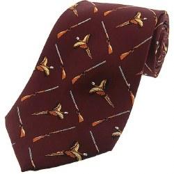 Derek Lee Gunsmiths Silk Wine Pheasant and Gun Tie