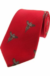 Derek Lee Gunsmiths Red Pheasant Woven Silk Tie