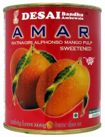 Amar Alphonso Sweetened Mango 850g Ratnagiri Pulp Red