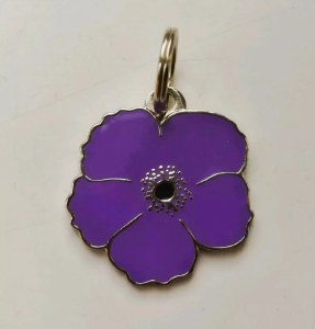 Purple Poppy Pet Collar Tag