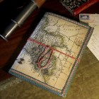 World Map Notebook with Tie Cord