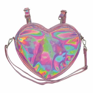 Pink Holographic Heart Backpack