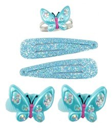 Wing and Wiggle Ring & Hair Clip 5pc Set