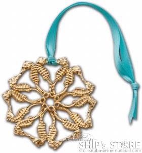 Ornament - Seahorse Snwflk Gd