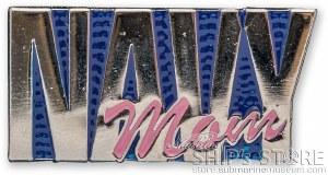 Pin - Navy (Pink) Mom