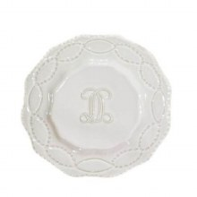 "Legado White Engraved Salad Plate in Initial ""H"""