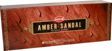 HEM AMBER SANDAL INCENSE (6 PACKS OF 20 STICKS)