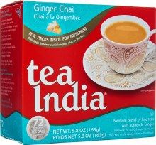 TEA INDIA GINGER CHAI 72 ROUND TEA BAGS/ 163G