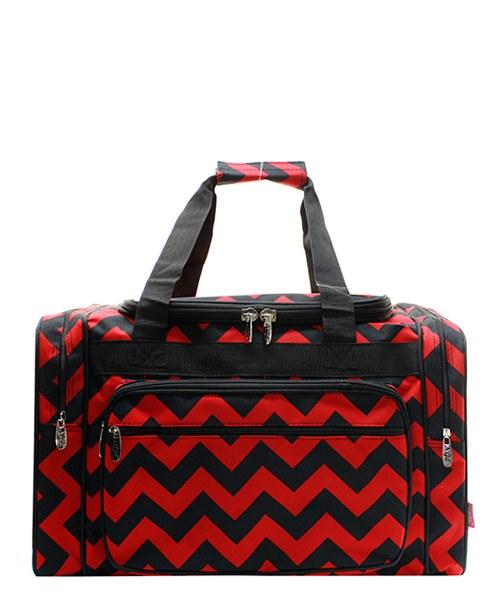 Chevron Print 20 Duffel Bag Red//blk