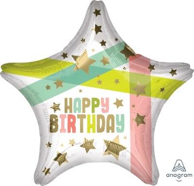 Birthday Pastel Star Foil