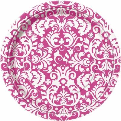Damask Dessert Plates Pink