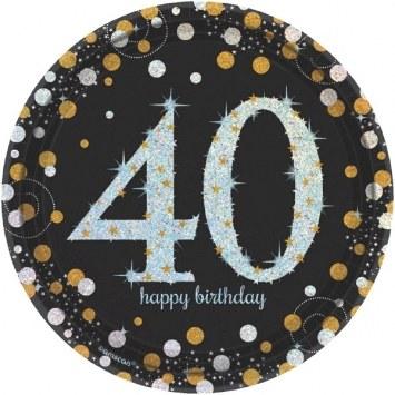 40th Sparkling Dessert Plates