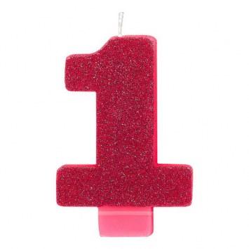 #1 Candle Metallic  Hot Pink