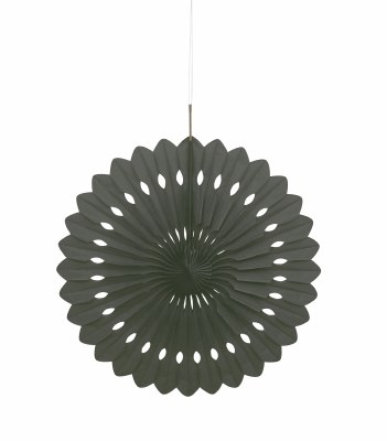 Paper Fan Decor 16in Black