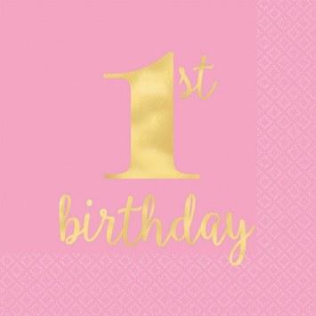 1st Birthday Pink Napkins