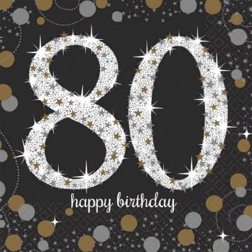 80th Sparkling Bev Napkins