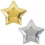 Star Shape Gold & Silv Plates