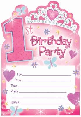 1st Birthday Princess Invites