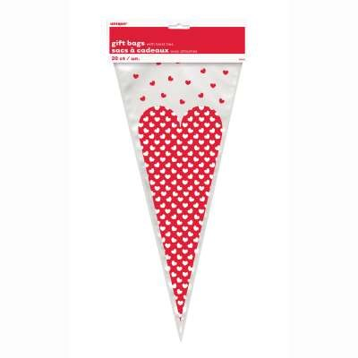Dotted Heart Cone Bags