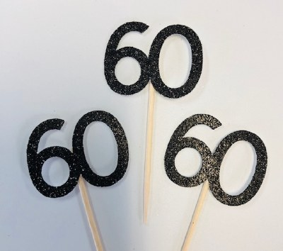60 Glitter Cupcake Topper-12ct
