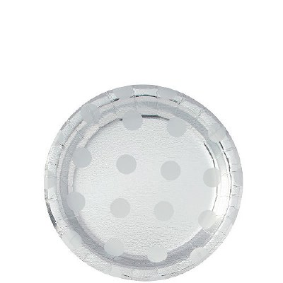 Polka Dot Plates Silver
