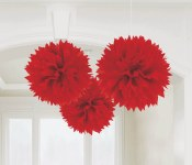 Fluffy Decor Balls Red