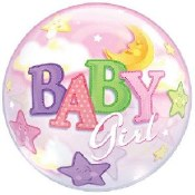 Baby Girl Over Moon Bubble
